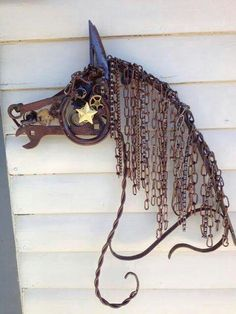 Abstract horse made of metal scraps