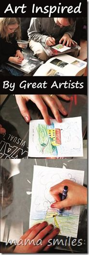 Kids art activities: Art inspired by great artists! Fun creative activity for all ages, and perfect for parents to do alongside children!