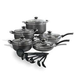 Royal Cook 16 Piece Heavy Gauge Aluminum Non-Stick Cookware Set, Grey
