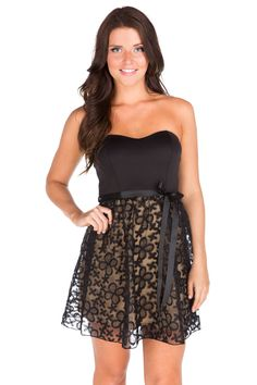 Floral Lace Strapless Dress