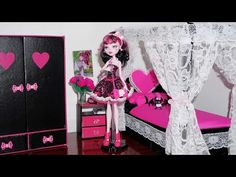 ▶ How to make a bed for Monster High Draculaura & Cleo de Nile (or Barbie) doll - YouTube