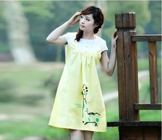 Lovely Deer Printed Buttons Decorated Maternity Dress Yellow