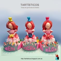 PRINCESAS DE GOMINOLAS Candy Art, Candy Cakes, Chocolate, Marshmallow, Food Art, Baby Shower, Sweets, Cookies, Birthday