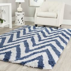 Shop for Safavieh Handmade Chevron Ivory/ Blue Shag Rug (6' x 9'). Get free shipping at Overstock.com - Your Online Home Decor Outlet Store! Get 5% in rewards with Club O!