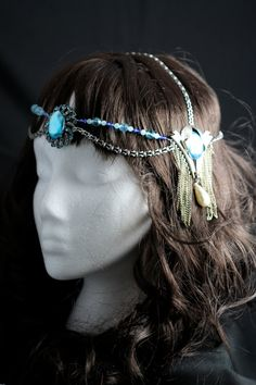 Deluxe headdress, art nouveau, Mucha  1920's. Turquoise by LaurenChecchio