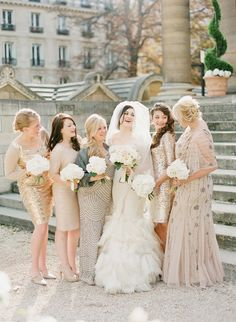 Shades of lovely #bridesmaids | Photography by @K T Merry   Read more - http://www.stylemepretty.com/2014/01/16/paris-destination-wedding-at-hotel-crillon-part-ii/