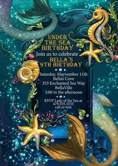 Under the Sea Mermaid Seahorse Party Mermaid Invitations Mermaid Pool Party Under the Sea Dance Invitations Enchanted Seas Sea Theme Mermaid Invitations, Sweet 16 Invitations, Birthday Party Invitations, Under The Sea Theme, Under The Sea Party, Mermaid Pool, Little Mermaid Parties, Mermaid Birthday, 5th Birthday