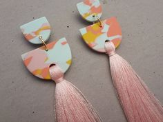 Tiered Tassel Earring - Candy / Tassel Earrings / Polymer Clay Earrings / Stud Earrings