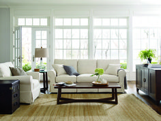 "friday slipcover sofa in 8 colors, friday chair, destin 24"" side table, and the phelps 60"" coffee table"