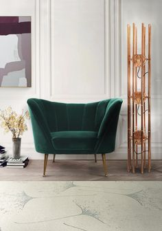 Nice ANDES armchair is a mid-century modern furniture piece made in cotton velvet that will be the star of your living room furniture set. Next to it, KENDO contemporary floor light stands gr . Contemporary Home Furniture, Luxury Furniture, Furniture Sets, Furniture Design, Chair Design, Rustic Furniture, Green Furniture, Furniture Online, Contemporary Rugs