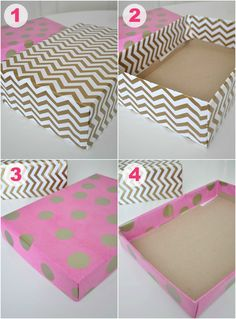 pretty boxes made from shoe boxes and wrapping paper