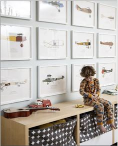 Use fun pictures to make a gallery in the kids room. I beautiful and fun way to decorate. #kidsroomideas #frames