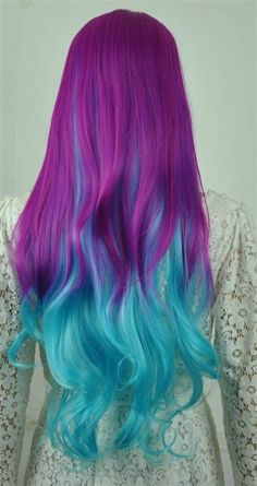 Violet and light blue hair color. Dye the upper side of your hair in striking…