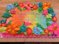 Bright tropical birthday cake Hawaii Birthday Cake, Hawaiian Theme Cakes, Hawaii Cake, Luau Cakes, Birthday Sheet Cakes, Hawaiian Birthday, Party Cakes, Hawaii Hawaii, 70th Birthday