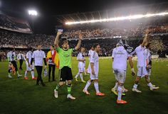 Iker Casillas waves to fans after beating FC Barcelona in the Copa del Rey Final at Estadio Mestalla on April 16, 2014 in Valencia, Spain.