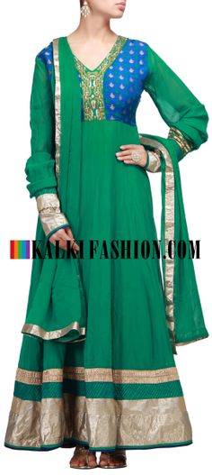 Buy Online from the link below. We ship worldwide (Free Shipping over US$100) http://www.kalkifashion.com/green-anarkali-suit-with-zari-embroidery.html Green anarkali suit with zari embroidery