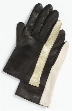 Diane von Furstenberg Colorblock Leather gloves