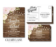 Rustic Wedding Invitation RSVP Postcard Info Card by ClearyLane