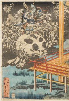 tiremat:  Hokui Fukao - The ghosts of the Minamoto appearing in Fukuhara Palace, 1830