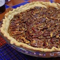 Bourbon Pecan Pie - Allrecipes.com Pecan Desserts, Just Desserts, Fall Desserts, Christmas Desserts, Pie Recipes, Dessert Recipes, Cooking Recipes, Deep Dish, Deserts