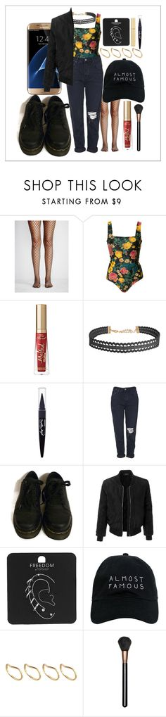 """Untitled #513"" by the-fashion-fantasy ❤ liked on Polyvore featuring Free People, FAUSTO PUGLISI, Too Faced Cosmetics, Humble Chic, Samsung, Maybelline, Topshop, Dr. Martens, LE3NO and Nasaseasons"