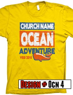 Ocean VBS t-shirts.  We offer FREE shipping on all VBS orders.  All shirts are designed to be customized for your VBS program- choose shirt color, design colors, church name, tag line and/or verse.