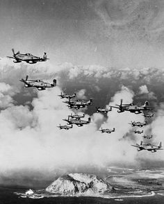 A group of P-51's from the 45th FS, 15th FG over Iwo Jima March 7, 1945