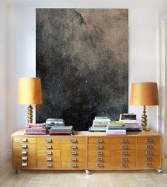 artwork by anewall, pair of lamps, design books, warm, vintage storage, antique storage, hallway design