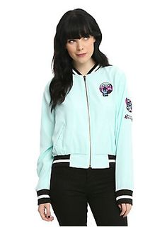 """Too cold to go to the beach? Never! Just cover up in this teal bomber jacket from <i>Lilo & Stitch</i>. With it's adorable patches and black and white striped cuffs and collars, you'll be the cutest and warmest girl on the shore.<br><ul><li style=""""list-style-position: inside !important; list-style-type: disc !important"""">100% polyester</li><li style=""""list-style-position: inside !important; list-..."""