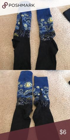 Starry Night Mens Dress Socks 8-12 Size Starry night Mens Socks fits size 8-12 great for fun dress Socks or wear with shorts works for anything! Happy Socks Underwear & Socks Casual Socks