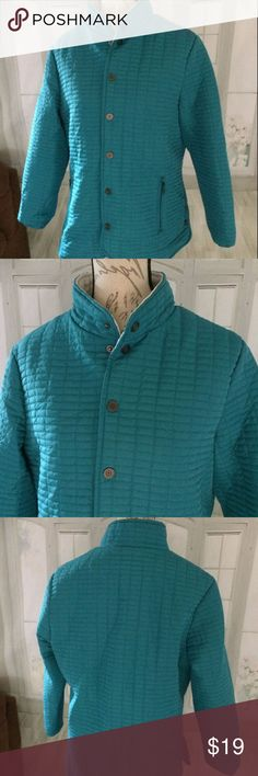 """Norm Thompson Teal Large Women's Jacket Quilted Machine wash cold. 100% polyester and lined in 100% polyester. Snaps and has zipper pockets. Quilted design, lined in taupe. 23"""" sleeve, 21"""" bust armpit to armpit, 26.5"""" long . Jackets & Coats"""