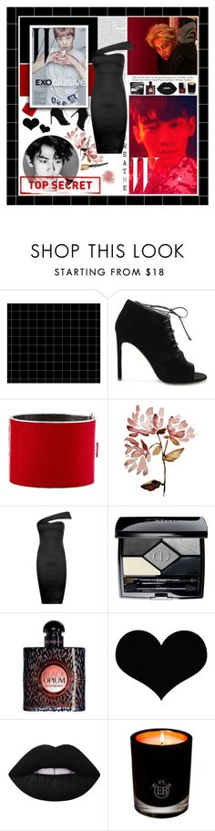 """""""Battle of the K-pop Group 2.0 [ EXO - ROUND 3 - TOP SECRET ]"""" by julia-ngo ❤ liked on Polyvore featuring Yves Saint Laurent, CÉLINE, Boohoo, Christian Dior, Lime Crime, EB Florals and botkpg"""
