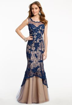 Lace Applique Trumpet Dress from Camille La Vie and Group USA