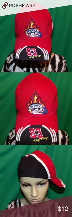 Big Dogs 83 NASCAR Hat Embroidered Baseball Cap Big Dogs 83 NASCAR Hat Embroidered Baseball Cap LOW & Fast Shipping. Really nice hat Red, Black, White and even flames!. It is in excellent vintage condition looks unused and unworn even has embroidery on the brim! It is a rigid front hat that both retains its shape and is more durable it also is size L/XL stretch to fit for the perfect fit every time. 100% Polyester Bundle 2 or more of our items for a discount or make us a OFFER the Fairies…