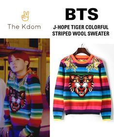 "You're going to love this: BTS ""DNA - J-Hope... The quantity is very limited so ACT FAST! http://thekdom.com/products/bts-dna-jhope-tiger-sweater-colourful-stripe?utm_campaign=social_autopilot&utm_source=pin&utm_medium=pin"