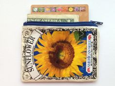 Bunco Gift Idea- Upcycled Sunflower Flower Seed Packet Zippered Coin Purse on Etsy, $12.00