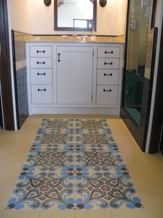 california contemporary mission architecture. interior detail. morrocan tiles and mission cabinetry. bathroom.