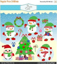 ON SALE christmas clip art  snowman Digital clipart by petittatti