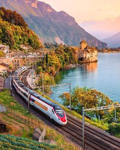 Chillon Castle by Lake Geneva (called Lac Léman in french) and train, Switzerland Ways To Travel, Places To Travel, Places To Visit, Travel Around The World, Around The Worlds, Trains, Bonde, Train Pictures, Lake Geneva