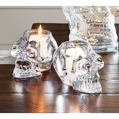 Pottery Barn Skull Votive Holder ($20) ❤ liked on Polyvore featuring home, home decor, candles & candleholders, glass candle, glass votive holders, glass votive candles, pottery barn votive holder and boho home decor