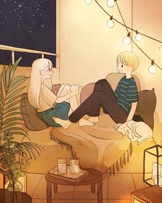 The best kind of nights 💑 - - - Japon Illustration, Couple Illustration, Dream Illustration, Aesthetic Art, Aesthetic Anime, Night Aesthetic, Character Art, Character Design, Hxh Characters