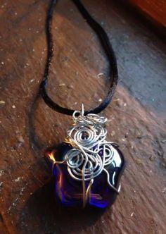 Cobalt Blue Glass Star Wrapped in Goddess Spirals