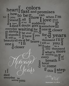 A Thousand Years Lyrics Printable Wedding Song By