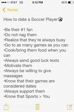 How to date a Soccer Player. Very true but the last one should be an equal sign