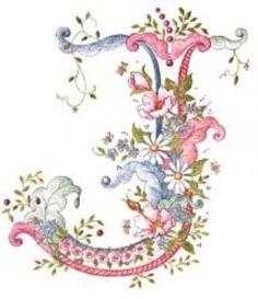 pink blue flower letter J Embroidery Alphabet, Alphabet Art, Alphabet And Numbers, Ribbon Embroidery, Fancy Letters, Monogram Letters, Graphic 45, Decoupage, Letter J