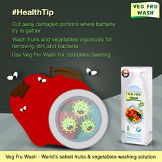#HealthTip Try these 3 simple steps before filling your bowl with fruits and vegetables. Buy Veg Fru Wash now on Flipkart - bit.ly/vegfruwashflipkart | Amazon -bit.ly/vegfruwashamazon | ShopClues -bit.ly/vegfruwashshopclues