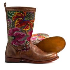 Coleccion Luna boots are designed by our creative team and were produced with great pride by our skilled boot makers in Guatemala whose craft spans several generations. The vintage Maya textile and leather combinations make each pair unique and one of a kind.