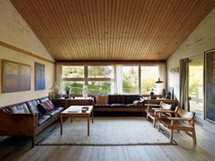 Wood paneling on ceiling