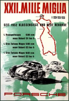 Porsche Mille Miglia 1955 Italian Races Vintage Poster Art Print Retro Style German Car Racing Advertisement Free US Post Low EU post by CharmCityPosters on Etsy