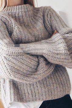 Beige Oversized Knit Sweater